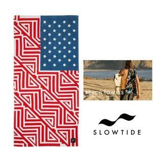 SLOWTIDE American Flag Beach Towel art of Drying